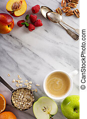 Healthy breakfast ingredients with oats, fruits and berries...