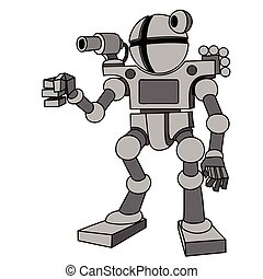 Vector image of robot with two arms and two legs.Future,...