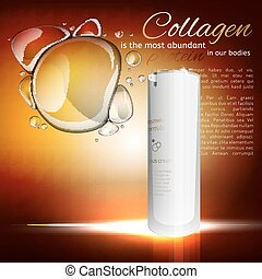 Collagen Treatment Template - White glass cosmetic flacon....