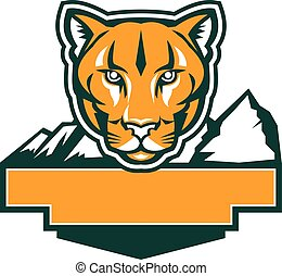Cougar Mountain Lion Head Retro - Illustration of an cougar...