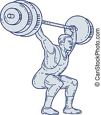 Weightlifter Lifting Barbell Mono Line - Mono line style...