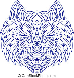 Grey Wolf Head Mono Line - Mono line style illustration of a...