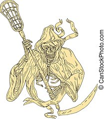 Grim Reaper Lacrosse Stick Drawing - Drawing sketch style...