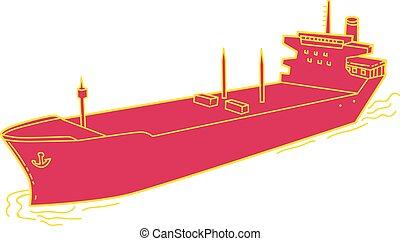 Container Ship Cargo Boat Mono Line