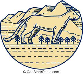 Cougar Mountain Lion Tree Mono Line - Mono line style...