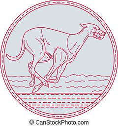 Greyhound Dog Racing Circle Mono Line - Mono line style...