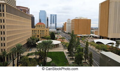 Timelapse looking down on Phoenix, Arizona core - A...