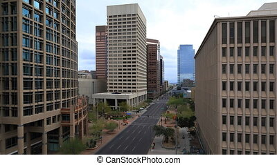 Timelapse looking down on Phoenix, Arizona city center - A...
