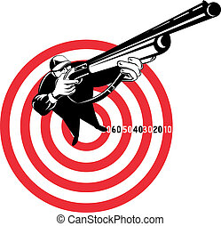 Hunter aiming rifle shotgun bulls eye