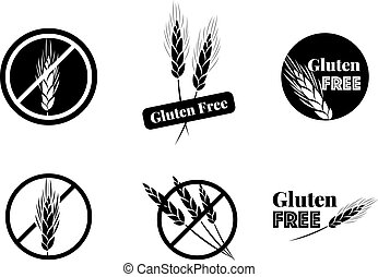 Vector Set Of Six Gluten Free Symbols With Banned Wheat...