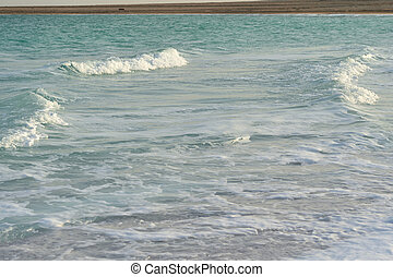 Waves at the Dead Sea on a windy day