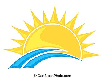Logo sun and sea. - Stylized Logo dawn sun with blue wave.