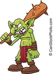 Angry troll - Angry cartoon troll. Vector clip art...