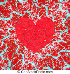Frosty heart, love and Valentine's day raster illustration -...