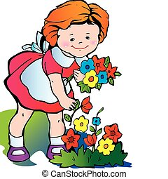 Girl gather flowers - Fine little girl gather flowers Happy...