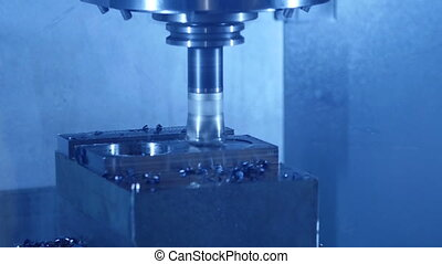 HD - CNC Milling of steel Parts. Close-up