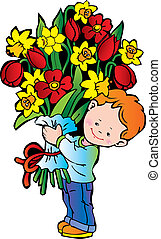 Boy with flowers.