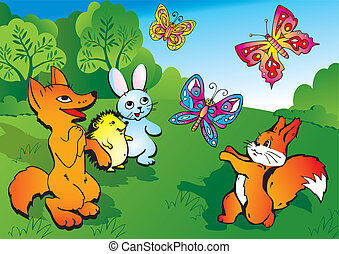 Wild animals - Wild animals play in the meadow Vector...