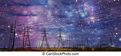 Power lines... - Landscape with power lines and Night sky