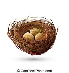 Bird Nest and golden Eggs - Birds nest and golden eggs on...