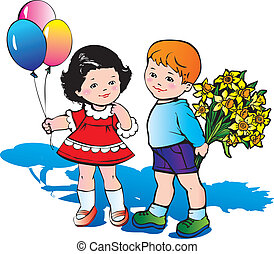 Children with flowers.