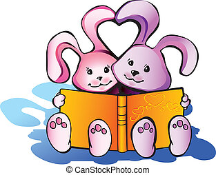 Rabbits with book. - Two nice rabbits read a book. Happy...