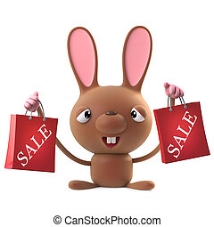 3d Cute cartoon Easter bunny rabbit character has been to the sales