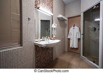 salle bains, couleur,  hôtel,  beige, intérieur, amende