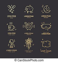 Insomnia Line Icons - Modern linear style vector collection...