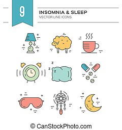 Insomnia Line Icons - Vector icon collection on incomnia and...