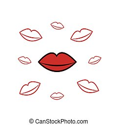 Lips Floating Kisses - Red lips surrounded by floating...