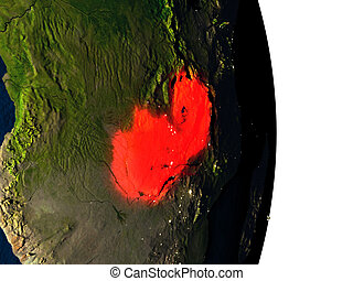 Zambia from space during dusk - Dusk over Zambia highlighted...