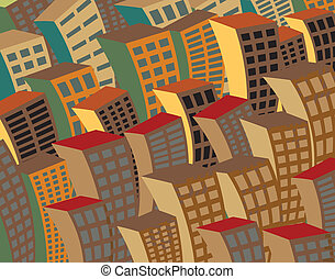 Night city - Editable vector illustration of bending...