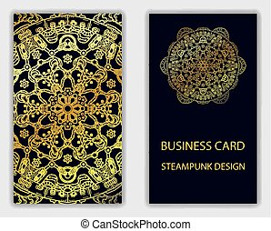 Business card with steampunk design elements.