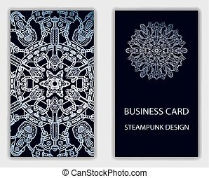 Business card with steampunk abstract design elements.