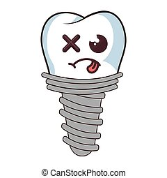 dental implant funny character kawaii style vector...