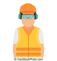 repairman character working with ear cap vector illustration...