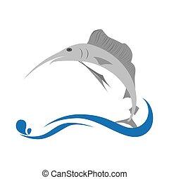 marlin fish emblem icon vector illustration design