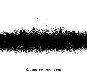 Black Grunge Banner - Grunge banner of black ink spatter and...