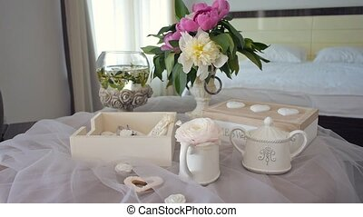 morning in the hotel room. decor for the morning bride
