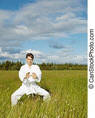 Young man is training in Wushu