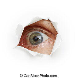 Voyeurism - eye spies through a hole. white background