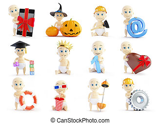 set baby 3d in different occupations and different objects...
