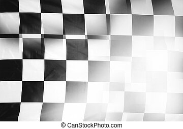 Checkered flag - Checkered black and white flag. Copy space