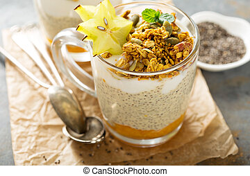 Chia pudding with exotic fruits and granola - Chia pudding...