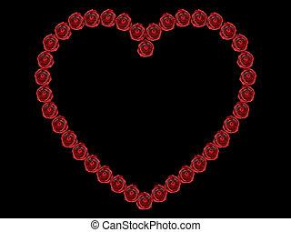 3D illustration frame rose heart on a black background