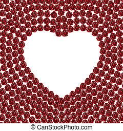 3D illustration frame rose heart on a white background