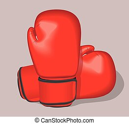 Red vector boxing gloves. Realistic illustration.