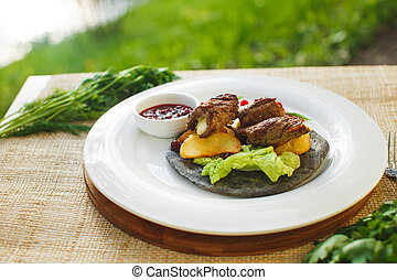 meat with greens on a cake the background of nature. Picnic