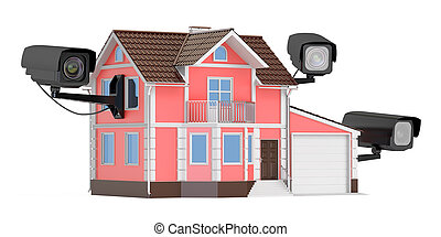 Security cameras on the home, 3D rendering isolated on white...